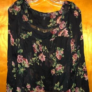 Jessica Simpson Black Floral Blouse